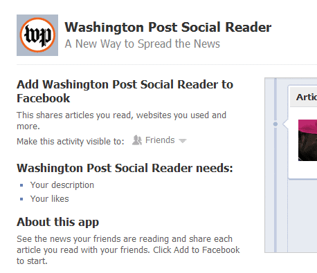 Washington Post Social Reader Facebook app