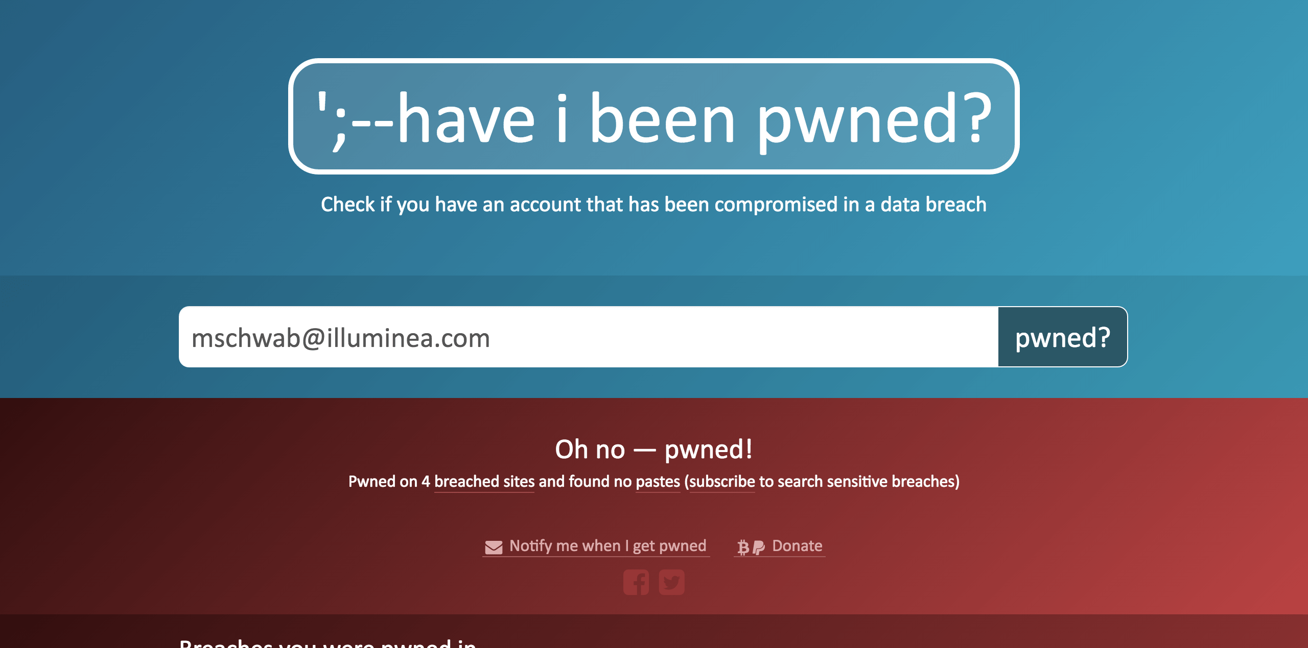Have I been pwned website screenshot