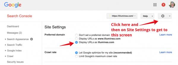 Set preferred version of URL in Google Search Console