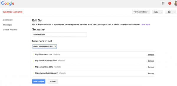 Configuring Property Sets in Google Search Console