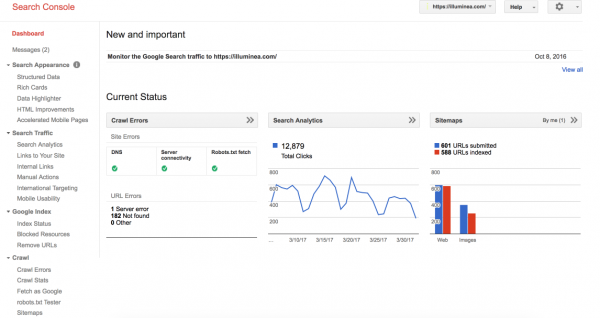 Individual property dashboard in Google Search Console